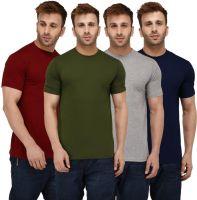 London Hills Solid Men Round Neck Maroon, Dark Green, Dark Blue, Grey T-Shirt(Pack of 4)