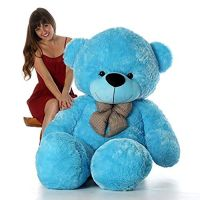 Enew Imported Teddy Bear Extra Long Top Quality Exclusive Fabric (4 Feet Blue)