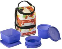 Signoraware Blossom Trio Lunch Box with Bag Set, 3-Pieces, Deep Violet