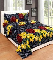 Red Bear 190 TC Cotton Double Floral Bedsheet(Pack of 3, Multicolor)