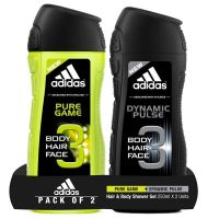 Adidas Pure Game Shower Gel, 250ml with Dynamic Pulse Shower Gel, 250ml