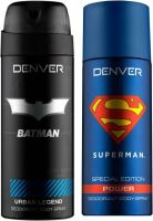 Denver Batman Urban Legend and Superman Power (Pack of 2) Deodorant Spray  -  For Men  (300 ml, Pack of 2)