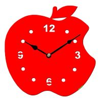 Sehaz Artworks Apple Asymetric Wooden Wall Clock (25.5 cm x 25.5 cm x 3 cm, Red)
