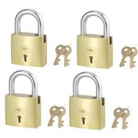 Harrison A-1-0005_PK 4 Brass 6 Levers Padlock with 2 Keys (Pack of 4)