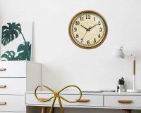 Efinito 11 Inch Round Classic Clock, Silent Non-Ticking Retro Quartz Decorative Wall Clock (Brown)