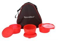 Signoraware Smart Plastic Lunch Box with Bag, 310ml, Set of 3, Red