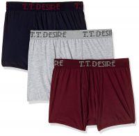 (Size 90) TT Men's Plain Cotton Trunks (Pack of 3)