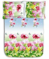 AAZEEM 120 TC Polycotton Double Bedsheet with 2 Pillow Covers - Abstract, Multicolour