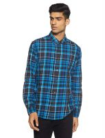[Size L] Beat London by Pepe Jeans Men's Checkered Slim Fit Casual Shirt