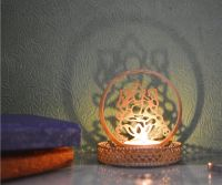 eCraftIndia Goddess Laxmi Aluminum Tea Light Holder (7.62 cm x 7.62 cm x 10.16 cm, Gold)