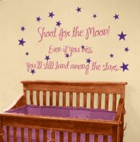 Decals Design 'Shoot The Moon Quote' Wall Sticker (PVC Vinyl, 50 cm x 70 cm), Multicolour