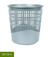 6 Litres Plastic Open Perforated Dustbin, Set of 5