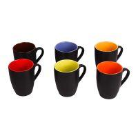 Saavre® Hand Made Black Outside Multi-Coloured Inside Satin Finish Ceramic Mugs, Big (Set of 6 Pcs.)