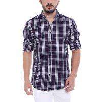 [Size XL] Dennis Lingo Men's Checkered Navy Blue Slim Fit Casual Shirt