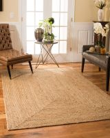ZEFF FURNISHING Handwoven Jute Square Rug, Natural Fibres, Braided Reversible Carpet