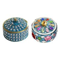 Angelic Brass Jewellery with Sindoor Box (7 cm x 7 cm x 5 cm, Blue)