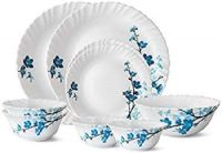 Larah By Borosil Mimosa Glass Dinner Set, 9-Pieces, White