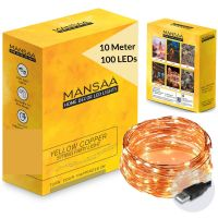 Mansaa Essentials 100 LED Copper Fairy String 10 m Lights with 1 m USB Cable