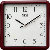 Ajanta Plastic Square Wall Clock (21.6 cm x 21.3 cm x 3.1 cm, Red)