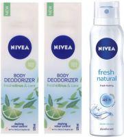 Nivea Fresh Citrus & Care Deodoriser & Fresh Natural Deodorant Combo - Pack of 3 Deodorant Spray  -  For Women(390 ml, Pack of 3)