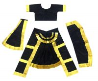 [2-4 Yrs] Fancy Steps Original Double Fan Classical Bharatanatya Dance Fancy Dress Costumes,  Black
