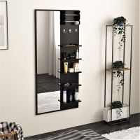 Bluewud Freddie Dressing Table with Shelves, Mirror and Hanging Hooks (Wenge)
