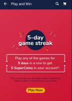 Play Any Games For 5 Days In Row & Get 5 Supercoins Only on App