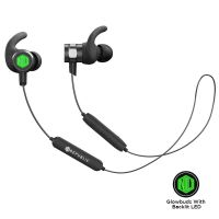 Nu Republic Rouser Wireless Earphones with LED Light, 10mm Drivers, IPX5 Sweat and Water Resistant, Deep Bass, in-Line Control with Mic- Green & Black
