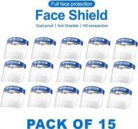 ZESTA Full Face Shield Mask Eyes Nose Protection (PACK OF 15) Face Shield Mask Safety Visor(Size - Free Size)