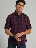 [Size 40] Roadster Men Checkered Casual Spread Shirt