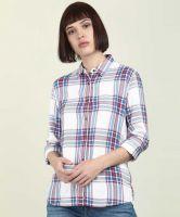 [Size S, M, L] LeeWomen Checkered Regular Fit Casual Spread Collar Shirt