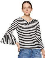 [Size S, L, XL, XXL]  KRAVE Women's Striped Regular fit Top