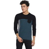 [Size L] Campus Sutra Striped Men's Round Neck Black T-Shirt