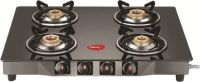 Pigeon Brunet Stainless Steel, Glass Manual Gas Stove(4 Burners)