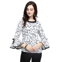 J B Fashion Printed Polyester Fabric Women Top with Full Sleeves