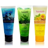 NutriGlow Face Wash Pack of 3 Diamond Radiance, Neem Tulsi and Wild Turmeric.