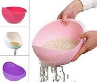 Floraware Plastic Washing Bowl For Storing and Strainer, Multicolour