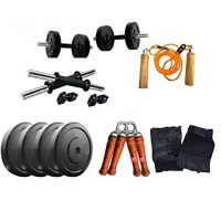 Aurion 12 kg home gym Set with 14 Inch Dumbbell rods + Accessories