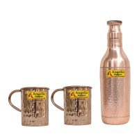 Angelic Copper Champagne Hammered Bottle with Cup Set, 1 Litre, Set of 2, Brown