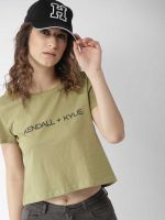 [Size XL] FOREVER 21 Printed Women Round Neck Green T-Shirt