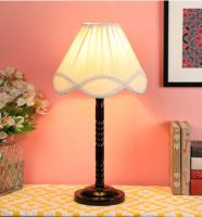 Ntu-26 Off White Cotton Shade Table lamp with Metal Base by tu casa Holder Type e-27 (Bulb not Included)