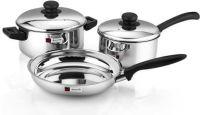 Butterfly Steel Cookware Set - 3 pcs Induction Bottom Cookware Set(Steel, 3 - Piece)