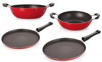 Nirlon Non-Stick Cookware Kitchen Cooking Essential Combo Set, (FT12_KD12_KD14_FT11),Heavy Gauge Aluminium