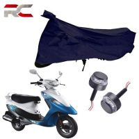 Riderscart All Season (Weather) Waterproof Bike Cover For Tvs Scooty Pep and Handle Bar Light