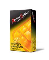 18+ KamaSutra Mango Pleasure Flavoured Condoms Pack of 10, clear
