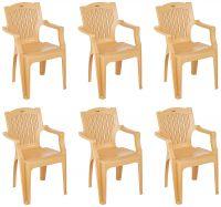 Amazon Brand - Solimo Desna Plastic Chair Set of 6 (Beige)