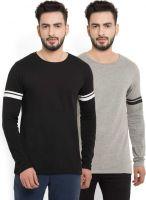 [Size XXL] BillionPerfectFit Solid Men Round or Crew Black, Grey T-Shirt(Pack of 2)
