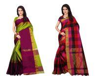 Dhruvi Trendz Soft Cotton & Silk Saree For Women Half Sarees Under 349 2020 Beautiful For Women saree free size with blouse piece (Red & Orange)