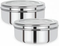[Pre Book] Renberg Stainless Steel Puri Canister Set of 2, 750ml, Sliver (RBIN-6093)  - 750 ml Steel Utility Container(Pack of 2, Silver)