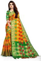 TorioxWoven, Floral Print, Embellished Fashion Poly Silk, Lycra Blend Saree(Orange)
